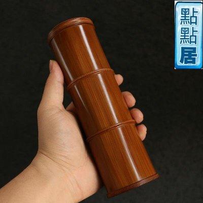 【點點居】手工雕刻老玉竹三節螺紋口茶葉罐多層竹制茶葉罐茶倉香粉盒文玩把件竹製品DD01543