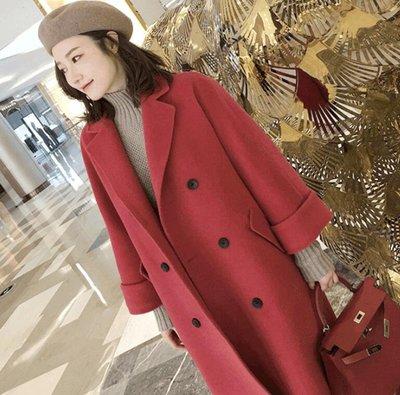 大衣 韓版中長款過膝紅色雙面呢大衣 雙排扣羊絨毛呢外套 風衣外套—莎芭