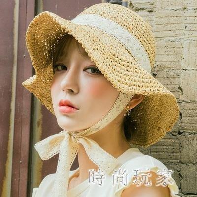帽子女夏小清新韓版百搭系帶蕾絲草帽防風沙灘太陽帽 st3739