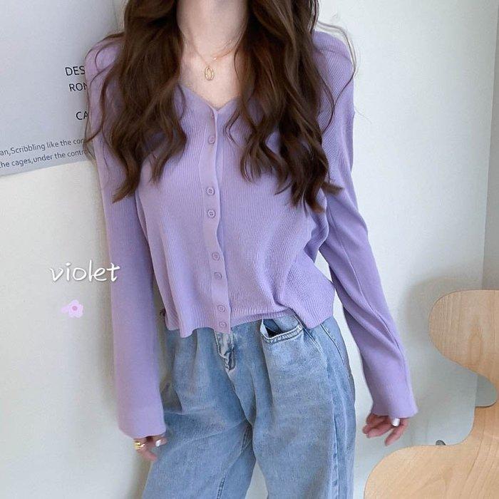 短袖針織衫 冰絲 夏寬松bm溫柔風V領薄款紫色長袖針織上衣女開衫外套ins潮