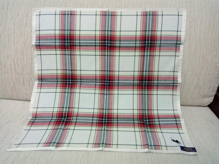 天使熊雜貨小舖~RALPH LAUREN POLO方巾  手帕  日本製  綿100% 全新現貨