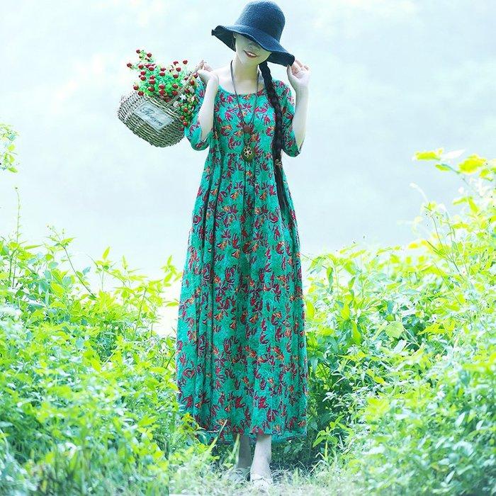 文藝 復古 棉麻連身裙 印花 甜美 實拍夏季文藝復古大碼女裝碎花棉麻連衣裙女寬松顯瘦長裙