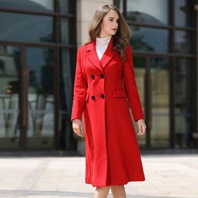 毛呢外套 羊毛 大衣-長版過膝顯瘦紅色女風衣62v51[韓國進口][米蘭精品]
