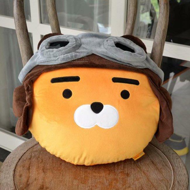【FAT CAT HOUSE胖貓屋】韓國kakao friends萊恩Ryan飛行員抱枕 頭型抱枕腰枕 靠墊 禮物