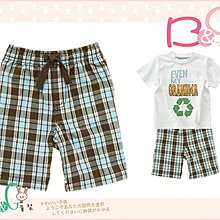 【B& G童裝】正品美國進口Crazy8 Pull-On Plaid Short 咖啡藍格子男童短褲2,4yrs