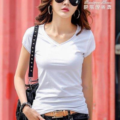 短袖T恤 夏季新款純白色V領短袖t恤女...