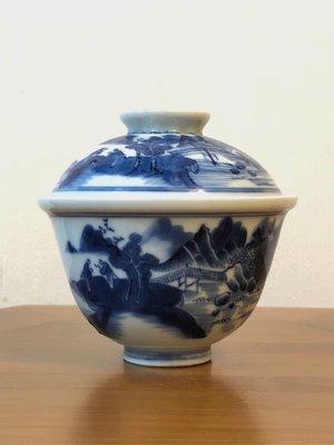 【琛藏瓷】清 嘉慶 青花山水人物蓋杯