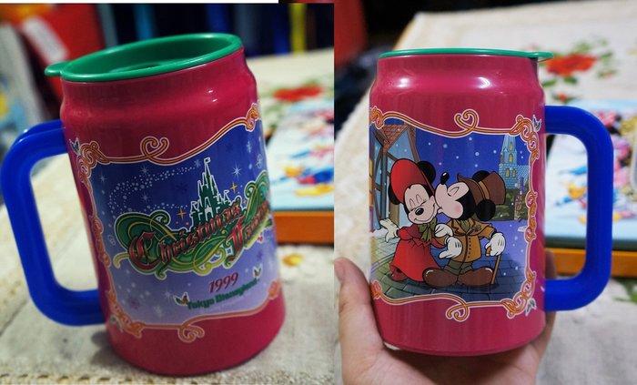 瘋日本*東京迪士尼樂園限定絕版-非賣品-1999年米奇米妮*冬日聖誕-飲料杯/手拿杯370ML-特價490元
