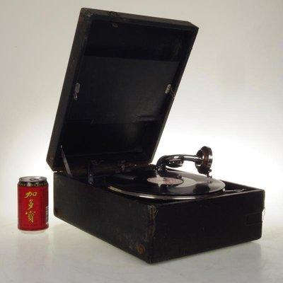 百寶軒 西洋古董手搖留聲機發條動力成色7品功能正常聲音不錯 ZG2362