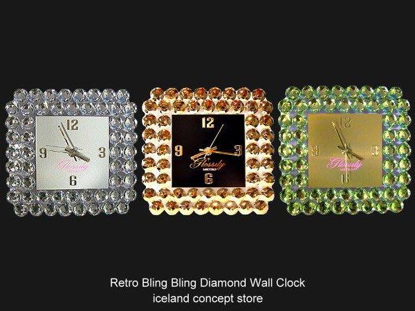 iceland ~ 造型時鐘Bling Bling Clock 復古金光閃閃鑽石掛鐘 (自取賠錢賣NT1980)