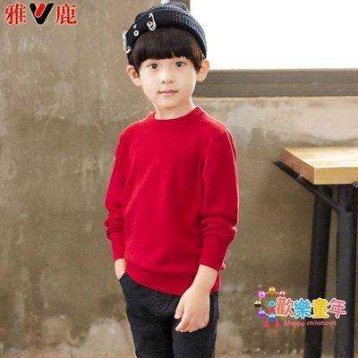 雅鹿春秋童裝男童毛衣套頭打底圓領薄毛衣中大兒童男孩子針織衫棉