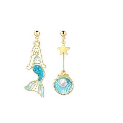 深海百搭美人魚不對稱簡約純銀星星可愛耳環