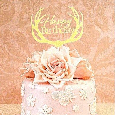 (金色)森林系鹿角生日快樂happy birthday蛋糕插旗 插卡 蛋糕裝飾插牌 party candy bar