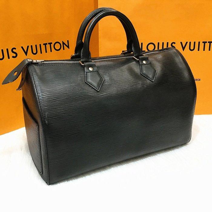 二手旗艦 LV M59222 黑色 EPI 水波紋 SPEEDY 波士頓 手提包 (中友店) 13501