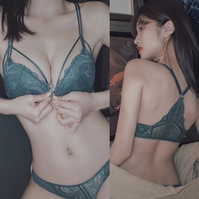 新款 爆乳深v性感調整型蕾絲性感美背 前扣內衣女聚攏有鋼圈美背文胸調整型文胸套裝