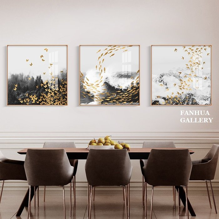 C - R - A - Z - Y - T - O - W - N 金色魚群飛鳥抽象三聯畫簡約方形抽象掛畫輕奢鋁合金框畫高端時尚美學空間裝飾畫大氣客廳沙發牆壁畫