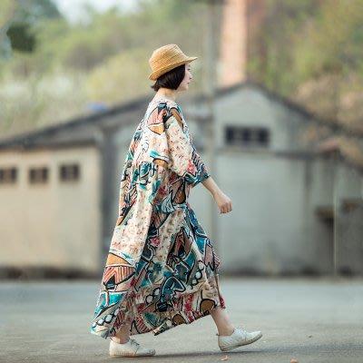 *菇涼家*小素原創設計復古印花宽松棉麻连衣裙长款旅行褶皱袍子