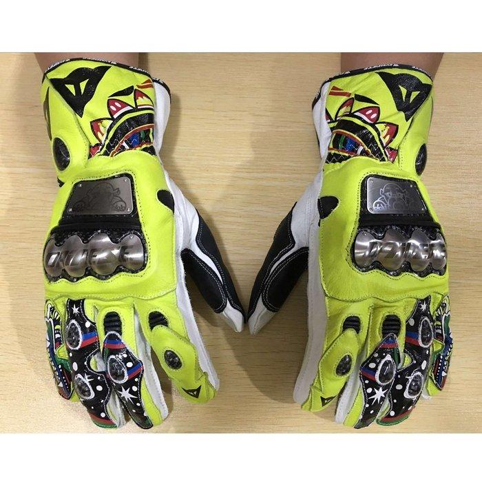 【購物百分百】2016款 牛皮碳纖維鈦合金手套 羅西VR/46摩托車手套 重機車手套 防摔手套 騎士機車手套 賽車手套搖