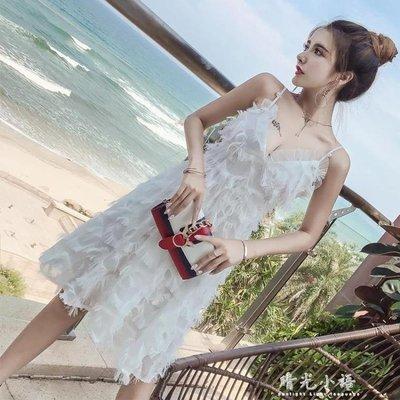 沙灘裙女夏2018新款海邊度假巴厘島泰國吊帶裙露背超仙洋裝