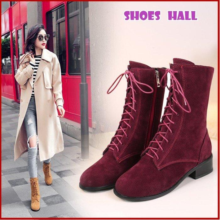鞋館Shoes hall【S80010】率性穿搭~綁帶素面低跟短靴~3色(可訂做大尺碼)