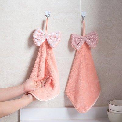 衛生 居家 整潔 乾淨蝴蝶結掛式擦手巾加厚抹布洗碗巾 廚房清潔巾吸水毛巾家用洗碗布