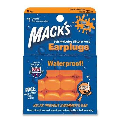 ** 安妮精品 ** 美國製 Mack's 兒童矽膠耳塞 (黏土耳塞) 6對盒裝 橘色 (全新現貨)