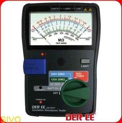 ☆SIVO電子商城☆台製得益 DER EE DE-5011 指針式絕緣電阻計 吊線式錶芯(TAUT BAND)