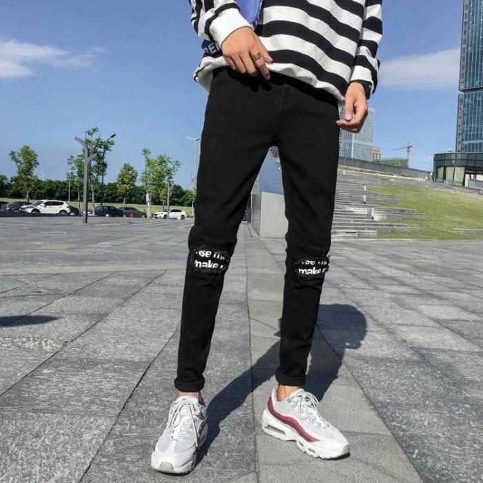 牛仔褲 男生黑色牛仔褲 男修身小腳正韓潮流加絨加厚褲子