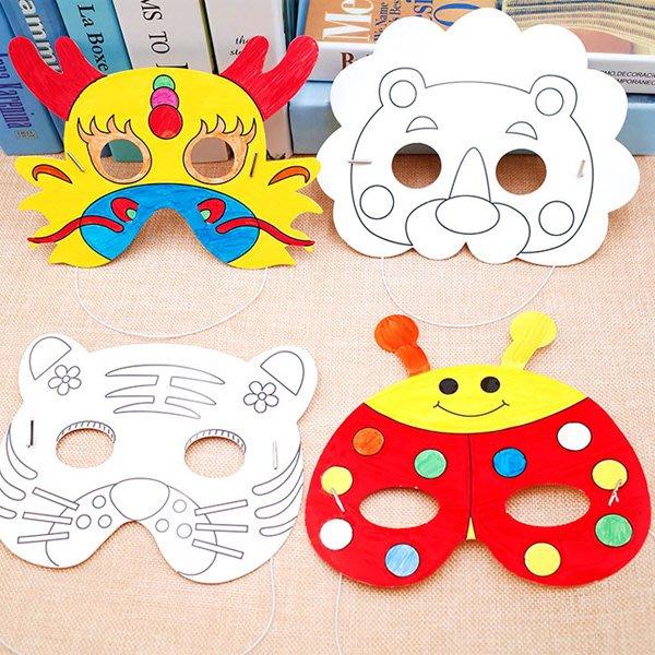 兒童DIY繪畫塗鴉空白面具材料【JC3689】《Jami Honey》
