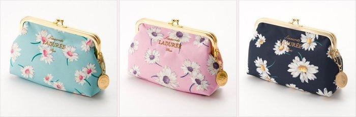 Ariel's Wish-日本Laduree許願浦公英珠扣包化妝包收納袋鉛筆盒筆袋附品牌金牌拉鍊吊飾-天空藍粉黑三色現貨