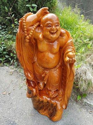 彰化二手貨中心(原線東路二手貨)-- 木雕大師 李慶隆老師的作品 台灣檜木 彌勒財神 木雕