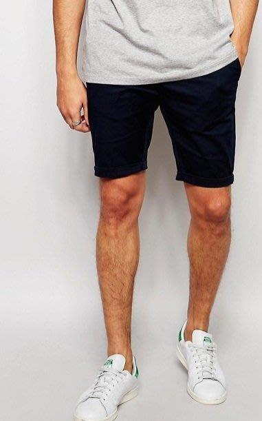 ◎美國代買◎ASOS反摺褲口經典百搭款素色素面彈性棉及膝短褲~歐美街風~大尺碼