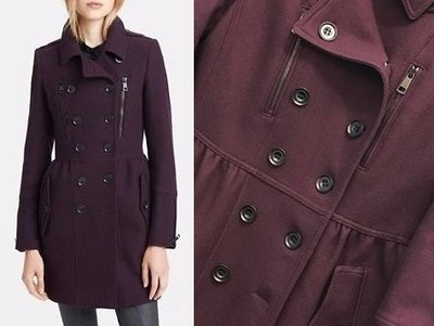 Burberry 紫色 羊毛 Cashmere羊絨 大衣外套 US 10 / UK 12  (US 8 / UK 10)