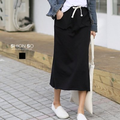 享瘦衣身中大尺碼【B2097】鬆緊腰抽繩棉質長裙