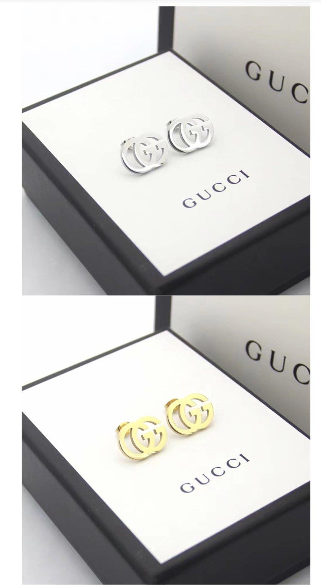 Gucci 經典光面雙G耳環