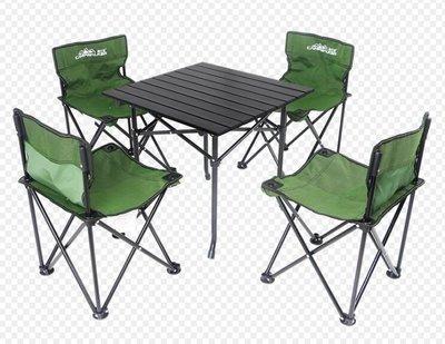 『格倫雅』折疊椅 露行者戶外折疊桌椅套件 鋁合金桌沙灘桌椅 燒烤桌椅便捷式4椅1桌^5869