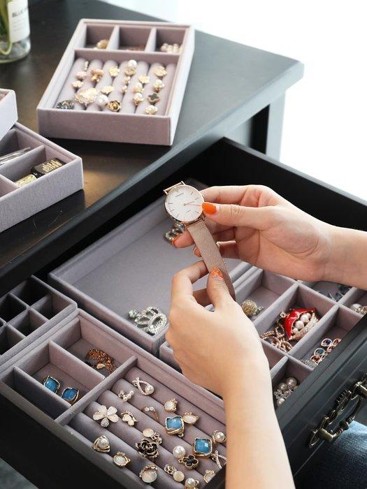 飾品盒網紅絨布首飾收納盒首飾盒戒指手鐲耳環飾品整理盒歐式公主珠寶盤