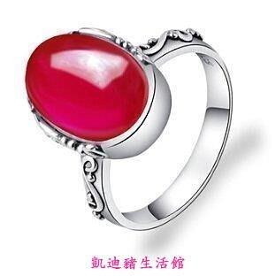 【凱迪豬生活館】真品 925銀泰銀紅剛玉銀戒指女式個性情侶禮物復古歐美銀飾品KTZ-200874
