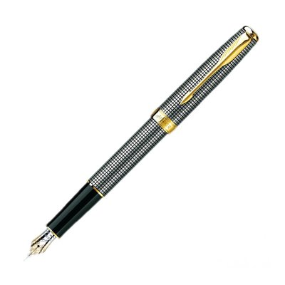 PARKER 派克 SONNET 商籟 尊貴系列 純銀格金夾 鋼筆PK-41021111