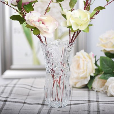 千禧禧居~水晶厚重玻璃花瓶擺件家用客廳簡約現代透明插花干花水培富貴竹瓶