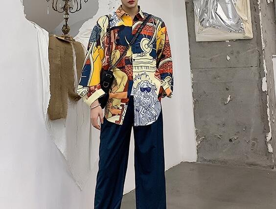 FINDSENSE 品牌 2019 春季 新款 寬鬆  潮流  個性 社會 男青年長袖 印花 免燙 襯衫 復古 氣質