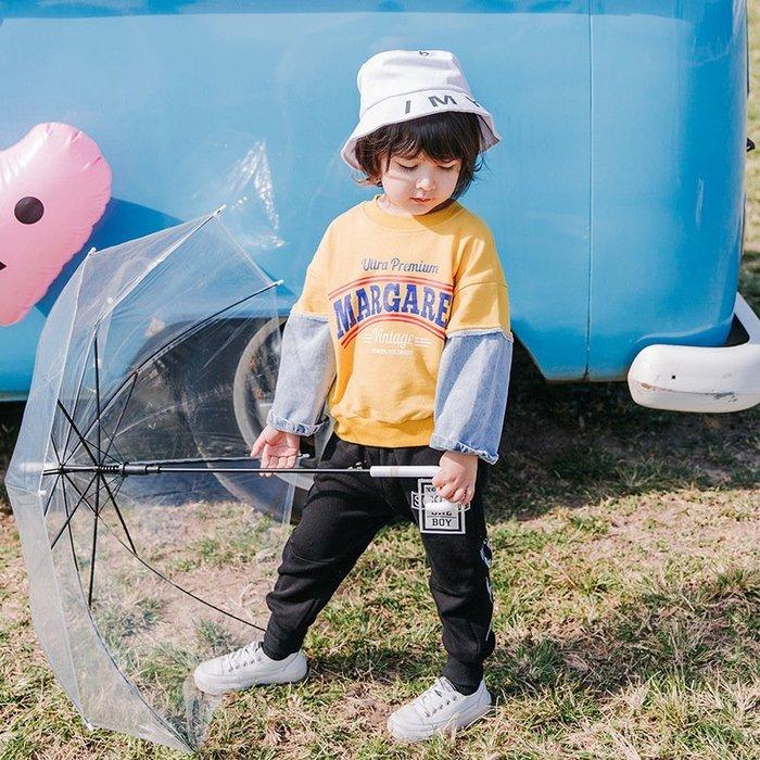 男童 拼接牛仔 衛衣 潮 兒童 小童洋氣 春裝  寶寶 韓版薄款上衣男春秋新款