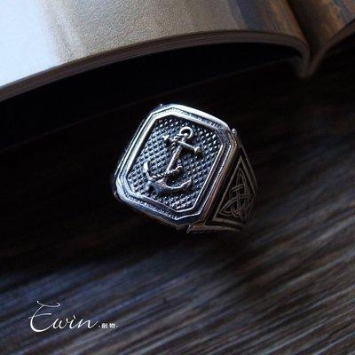 船錨凱爾特結925純銀戒指(方形軍戒/寬版戒) (T-R227)(現貨)【Ewin 創物】'20