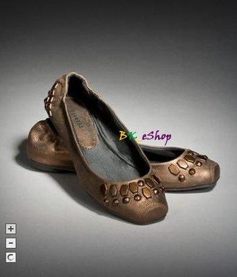 【美衣大鋪】☆ EXPRESS 正品☆STUDDED METALLIC BALLET  古銅色鉚釘平底鞋