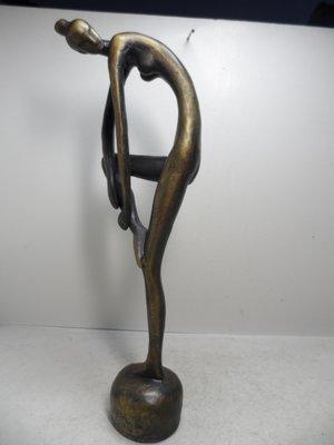 【 笑一笑 】銅雕-- 早期 實心抽象 藝術音律女