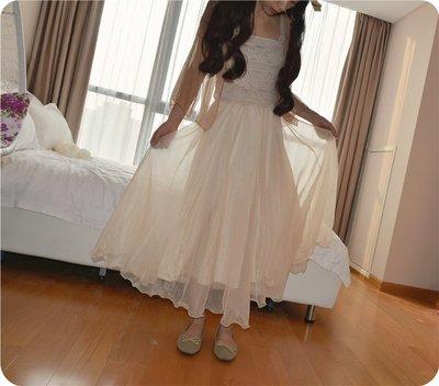 HH dream 超仙飄逸紗質長裙溫柔金絲雪紡大裙擺雙層仙女裙半身裙