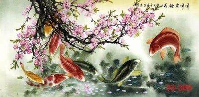 【花鳥畫】國畫九魚圖年年有魚字畫客廳臥室辦公室會議室中式裝飾畫(絹本畫芯可以貼墻上)