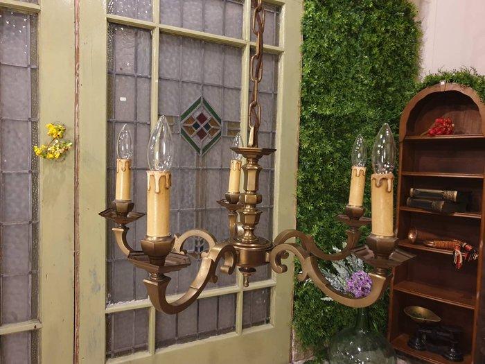 【卡卡頌 歐洲古董】法國老件 高品質 純銅雕刻  古董燈  支狀五燈  主燈 客廳燈  餐廳燈  la0244✬