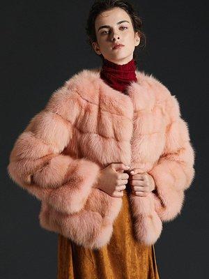 'OVERCOAT'2018新款俄羅斯紫貂皮大衣女短款 時尚裘皮外套圓領長袖