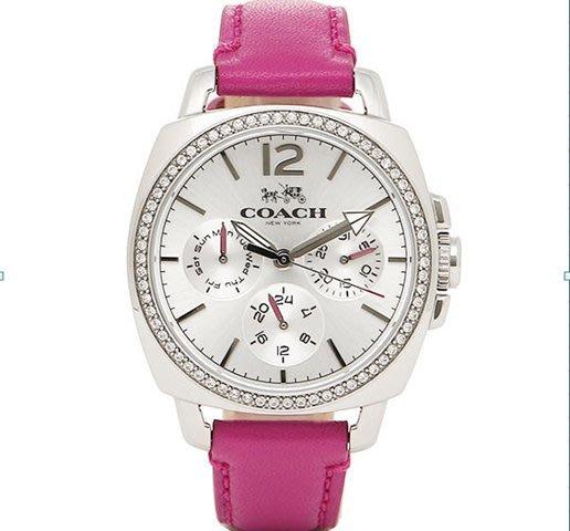 我愛名牌COACH包 美國100%正品【 清倉低價出售購買兩件免運】14502142真皮時尚錶 大錶盤時裝女手錶